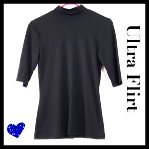 UltraFlirt:Size:M/Black High Collar Ribbed Shirt